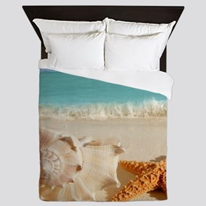 Seashell And Starfish On Beach Queen Duvet