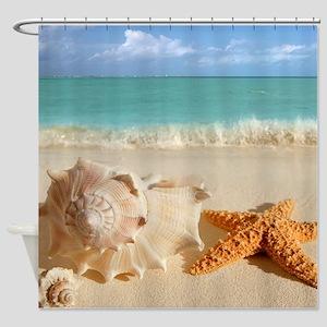 Seashell And Starfish On Beach Shower Curtain