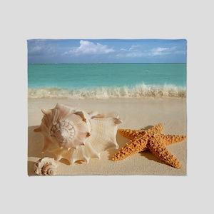 Seashell And Starfish On Beach Throw Blanket