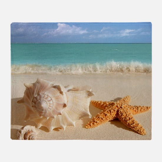 Seashell And Starfish On Beach Throw Blanket