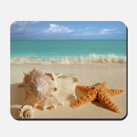 Seashell And Starfish On Beach Mousepad