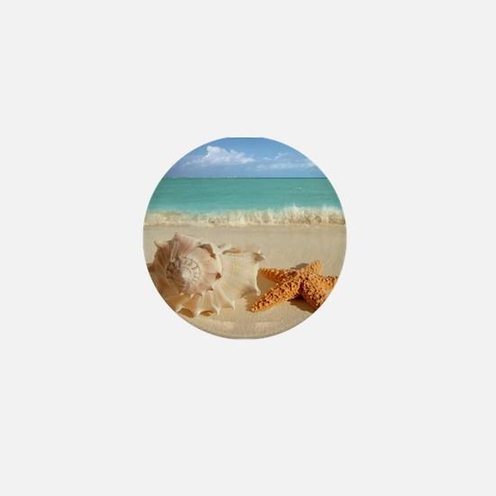 Seashell And Starfish On Beach Mini Button