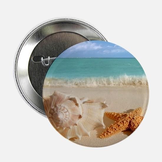 "Seashell And Starfish On Beach 2.25"" Button (10 pa"