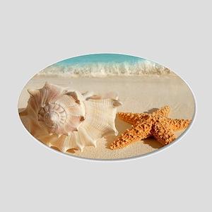 Seashell And Starfish On Beach Wall Sticker