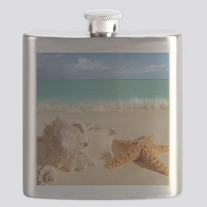 Seashell And Starfish On Beach Flask