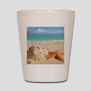 Seashell And Starfish On Beach Shot Glass