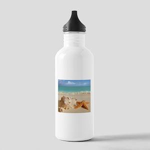 Seashell And Starfish On Beach Sports Water Bottle