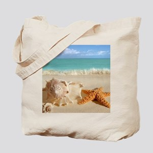 Seashell And Starfish On Beach Tote Bag