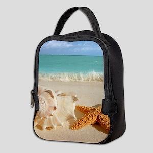 Seashell And Starfish On Beach Neoprene Lunch Bag