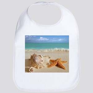 Seashell And Starfish On Beach Bib