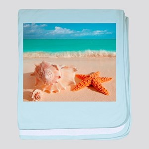 Seashell And Starfish On Beach baby blanket