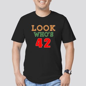 Look Who's 42 Birthday Men's Fitted T-Shirt (dark)