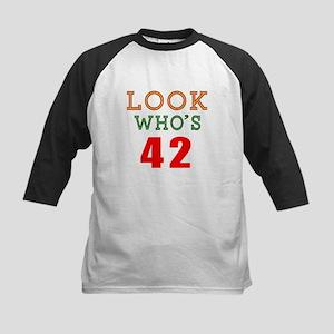 Look Who's 42 Birthday Kids Baseball Jersey