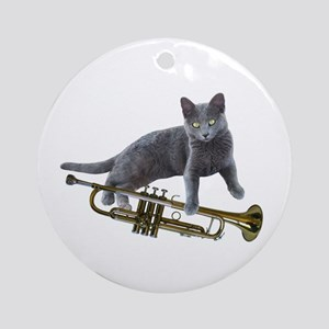 Cat with Trumpet Round Ornament