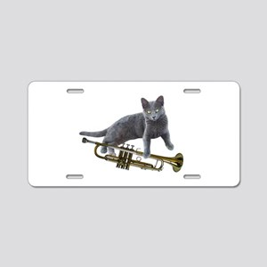 Cat with Trumpet Aluminum License Plate