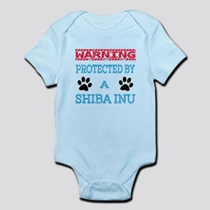 Warning Protected by a Shiba Inu Infant Bodysuit