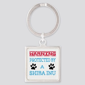 Warning Protected by a Shiba Inu Square Keychain