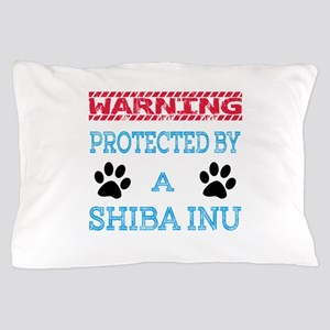 Warning Protected by a Shiba Inu Pillow Case