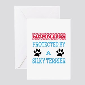 Warning Protected by a Silky Terrier Greeting Card