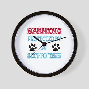 Warning Protected by a Smooth Fox Terri Wall Clock