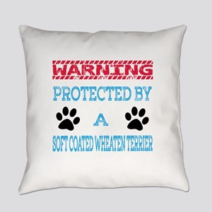 Warning Protected by a Soft Coated Everyday Pillow