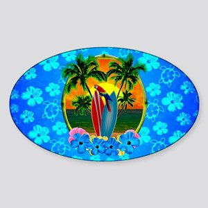 Blue Flowers Tropical Sunset Sticker