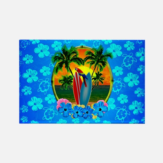 Blue Flowers Tropical Sunset Magnets