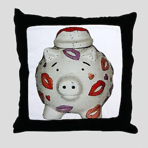 Adorable Lipstick Pig With Newsprint Throw Pillow