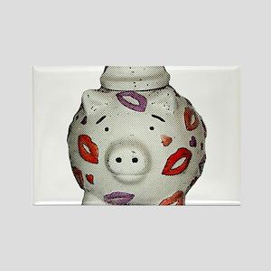 Adorable Lipstick Pig With Newsprint Effec Magnets