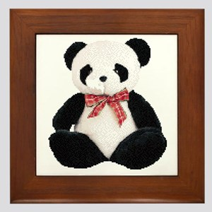 Cute Stuffed Panda Framed Tile