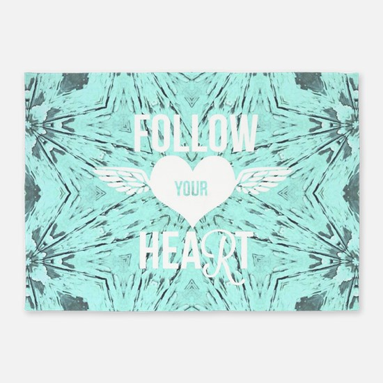 follow your heart positive 5'x7'Area Rug