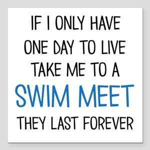 "SWIM MEET Square Car Magnet 3"" x 3"""