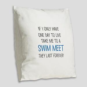 SWIM MEET Burlap Throw Pillow