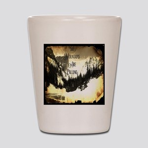 vintage mountains are calling Shot Glass