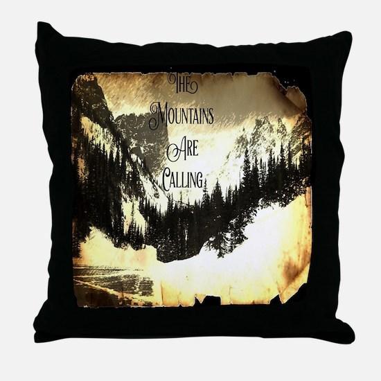 vintage mountains are calling Throw Pillow