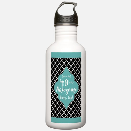 Black and Turquoise Mo Water Bottle