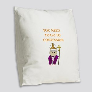 confession Burlap Throw Pillow