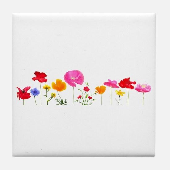 wild meadow flowers Tile Coaster