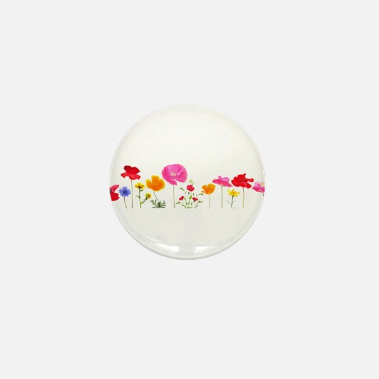 wild meadow flowers Mini Button