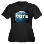 EARTHVOTE Women's Plus Size V-Neck Dark T-Shirt