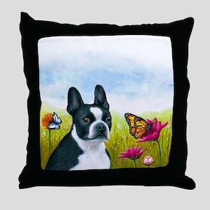 Dog 134 Boston Terrier Throw Pillow
