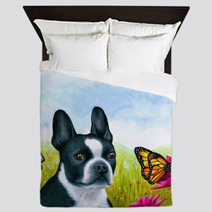 Dog 134 Boston Terrier Queen Duvet