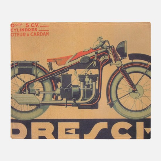 Vintage Motorcycle, Drench; Advertis Throw Blanket