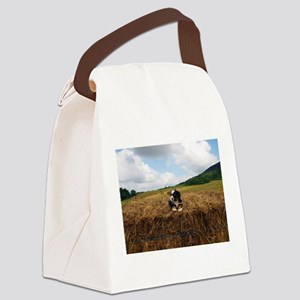 Puppy On Hay Canvas Lunch Bag