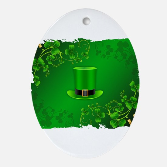 Saint patricks day hat and shillelag Oval Ornament