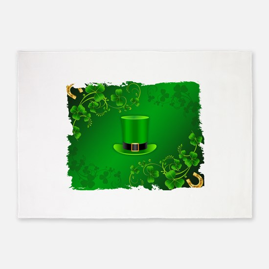 Saint patricks day hat and shillela 5'x7'Area Rug