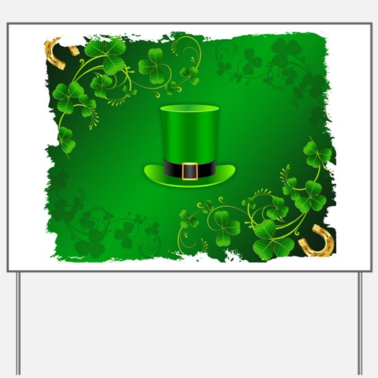 Saint patricks day hat and shillelagh Yard Sign