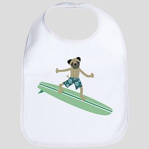 Pug Dog Surfer Baby Bib