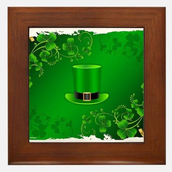 Saint patricks day hat and shillelagh Framed Tile