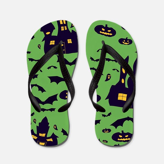 Green Haunted House Flip Flops